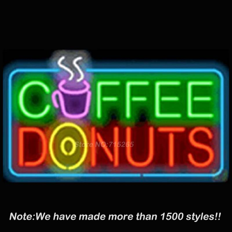 Neon Sign Coffee Donuts Sign board Neon Bulbs Metal Signs Shop Store Display Glass Tube Arcade neon Art Lighted Lamp 17x14 VD
