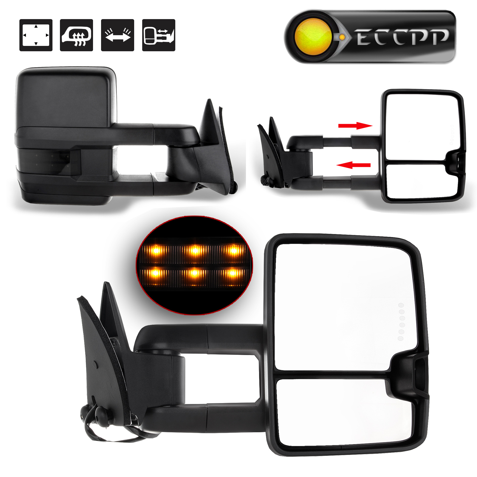Eccpp power towing car mirror heating for 1988 1998 chevy gmc c k 1500 2500 3500 smoke led signals left right view mirrors