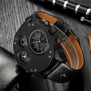 Image 2 - Oulm unikalne zegarki sportowe mężczyźni luksusowa marka dwie strefy czasowej zegarek dekoracyjny kompas męski zegarek kwarcowy relogio masculino