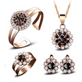 Fine Jewelry sets New fashion black crystal  gold plated women Flowers jewelry Necklaces rings Bridal wedding Jewelry sets