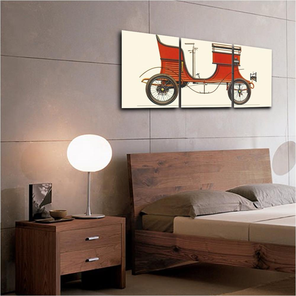 British Retro Red Car Wall Pictures Poster Print Canvas Painting Calligraphy Decor for Living Room Bedroom Home Decor Frameless in Painting Calligraphy from Home Garden