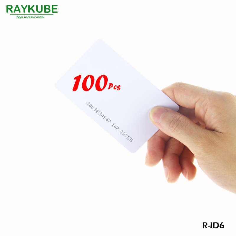 RAYKUBE R-ID6 100Pcs/Lot 125Khz RFID ID Card 0.8mm For Access Control And Time Clock Use