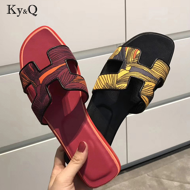 Brands Genuine Leather Spring Summer Shoes Fashion Flat Heel Sandals Word Cool S