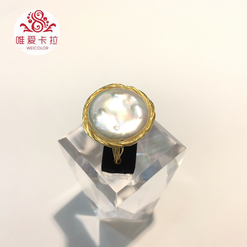WEICOLOR DIY Design Handmade Ring.18 22mm Good Natural Freshwater Coin Pearl on Gold Mixed. Contact for Size in Diameter. - 5