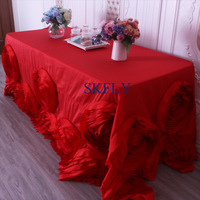 CL052P Gorgeous wedding hand made 6ft or 8ft rectangle red rosette table cloth with rose flower