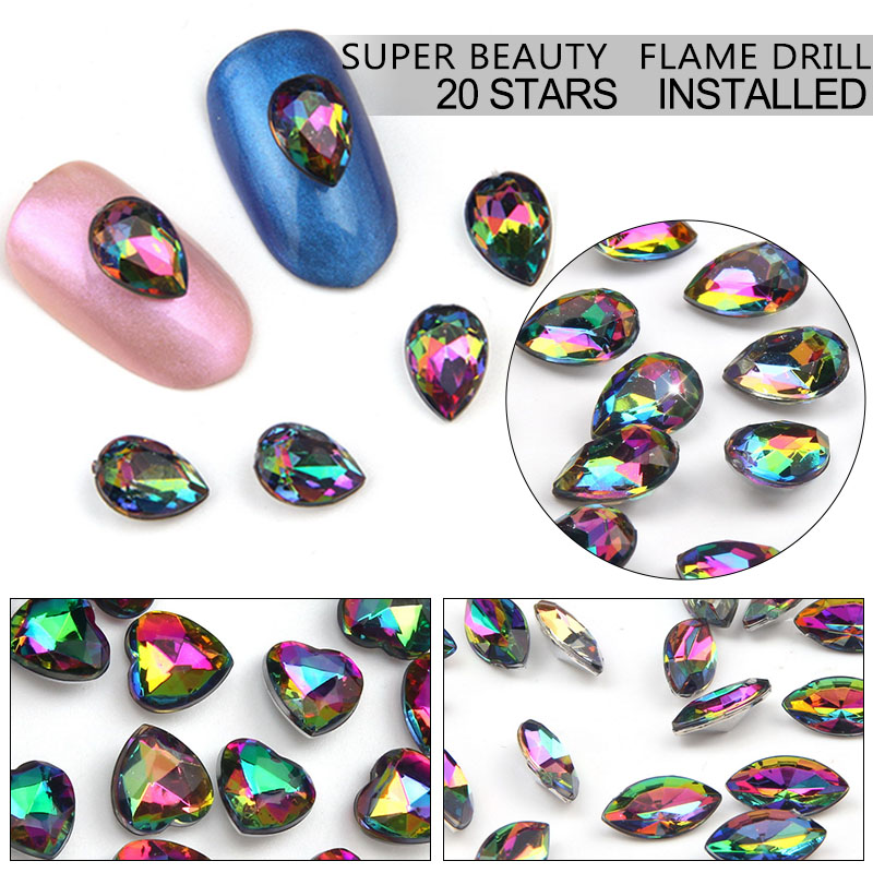 Elessical 20pcs Acrylic Rhinestone 3D Nail Art Charm High Quality Rhinestones Nail Supply Nail Manicure Decoration WY751-WY762 diy 20pcs bag nail art decoration 3d gel polish beautifully oval stone charm diamond acrylic resin nail art accessorietips