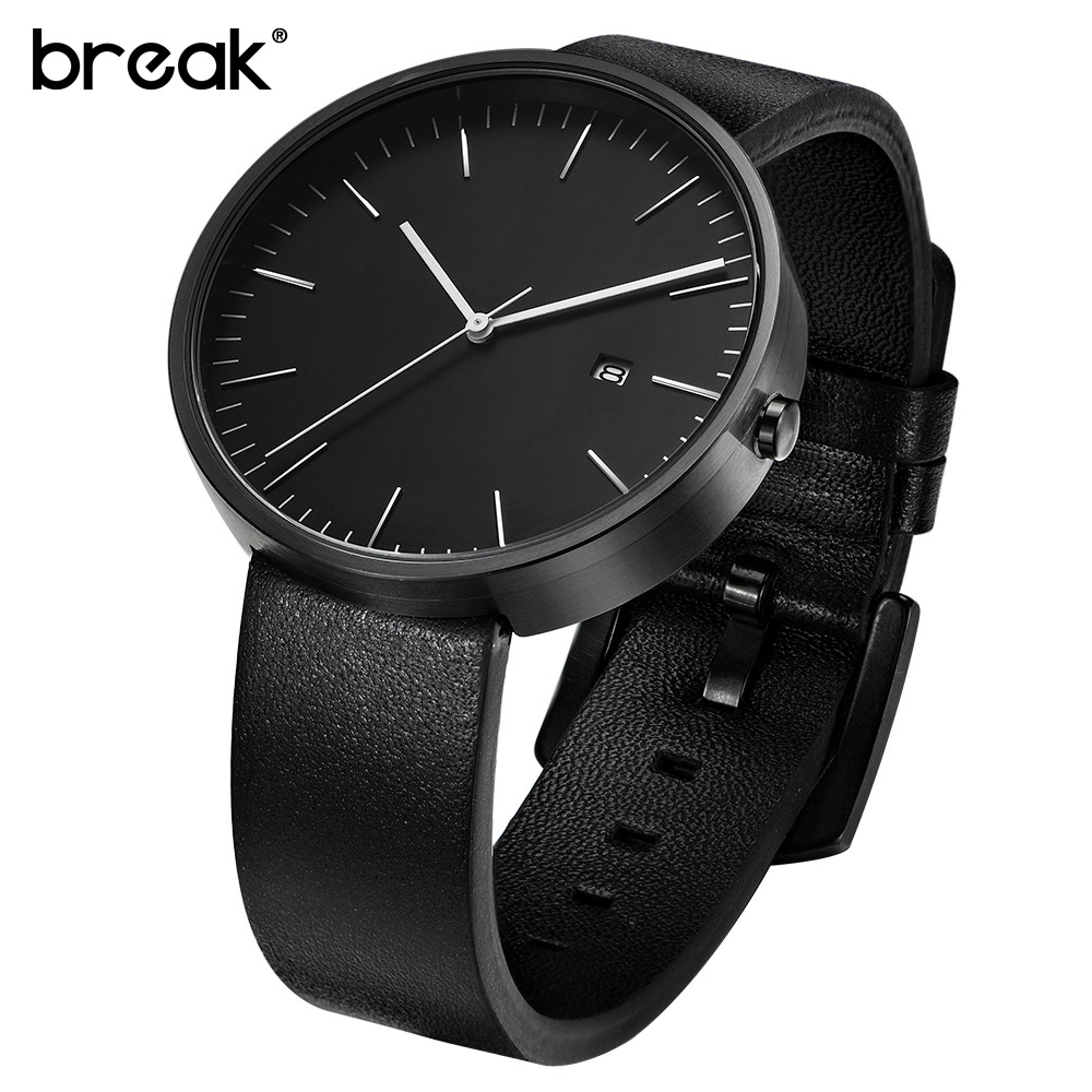 BREAK men top luxury leather strap simple fashion casual quartz wristwatch calendar stainless steel dress watch gift for women cvd znse co2 laser focus lens with diameter 20mm focus length 50 8mm thickness 2mm