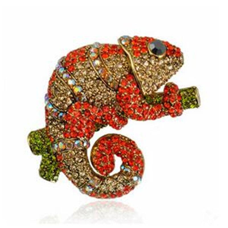 High Quality Hyperbole European Alloy Rhinestone Plating Chameleon Brooches Pins Badges Fashion Jewelry For Women-DXRSBR014F