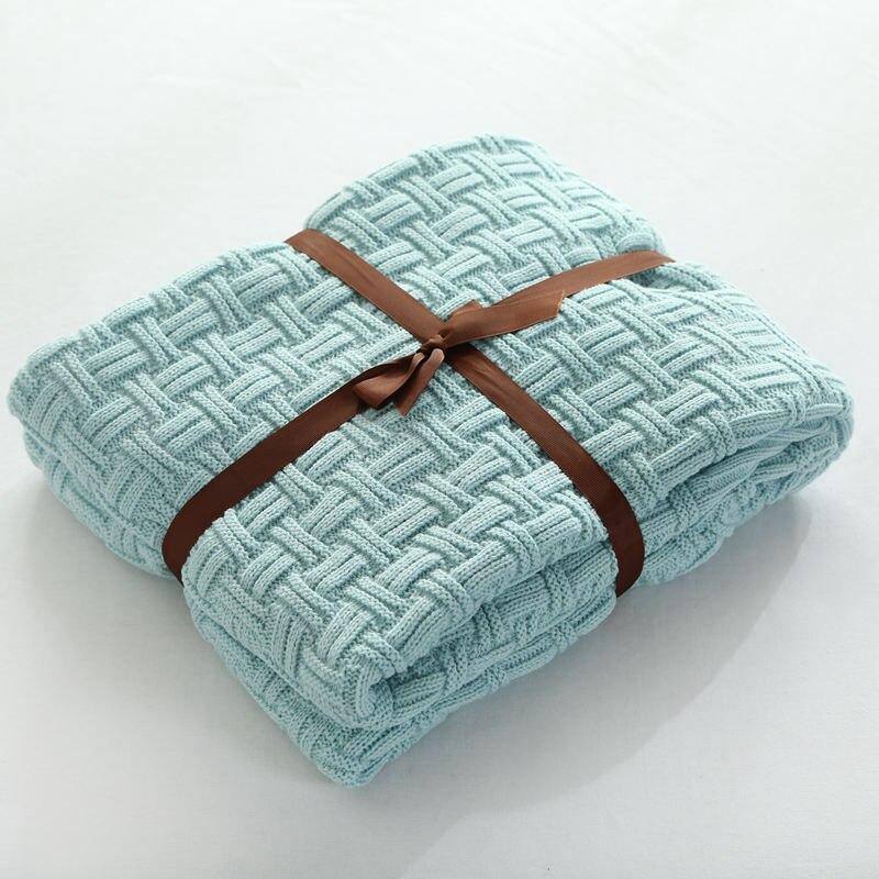 Super Soft Acrylic Fibres Handmade Knitted Blanket for Kids Child Sofa Throw Blanket Brand Blue Blanket on the Bed
