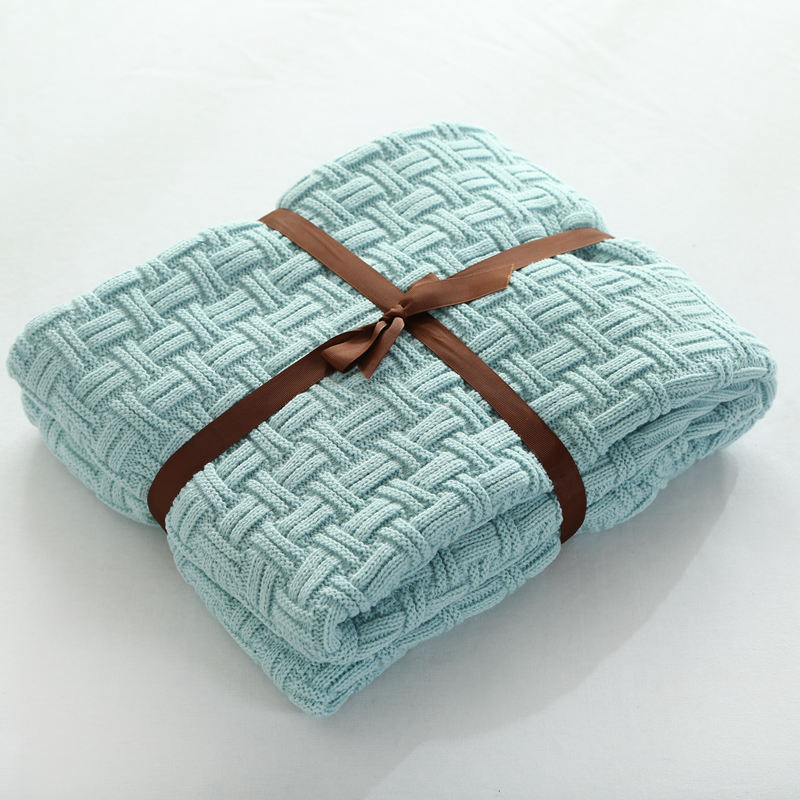 Super Soft Acrylic Fibres Handmade Knitted Blanket for Kids Child Sofa Throw Blanket Brand Blue Blanket on the Bed thicken soft knitted sleeping bag kids wrap mermaid blanket