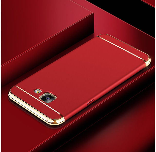 3 in 1 Luxury Electroplated Hybrid Armor Cover For Samsung A3 5 7 2015 2016 2017 A8 9 Phone Case Hard Plastic Shockproof Cases