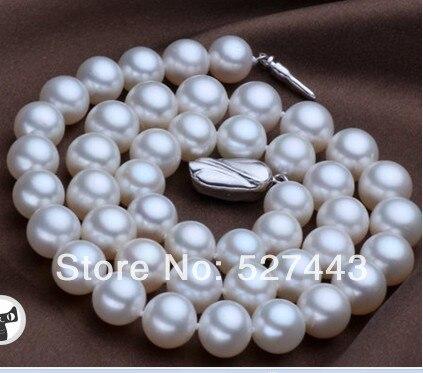 f65815a4885f Al por mayor 11-12mm natural agua dulce cultivada blanca perla gargantilla  collar de plata 925 17 (A0325)