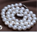 "Wholesale 11-12MM NATURAL White CULTURED FRESHWATER PEARL CHOKER NECKLACE 925 SILVER 17"" (A0325)"