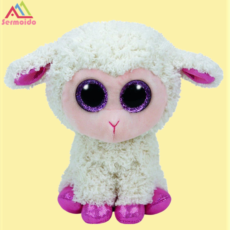 sermoido TY Beanie Boos Twinkle, 6 Lamb Sheep Plush Stuffed Doll Toy Collectible Soft Big Eyes Plush Toys ty collection beanie boos kids plush toys big eyes slick brown fox lovely children gifts kawaii stuffed animals dolls cute toys