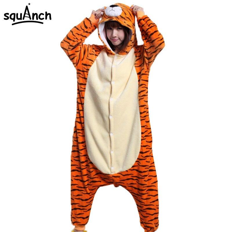 Animal Onesie Tiger Kigurumi Pajamas Unisex Men Women Adult Cartoon Overalls Party Suit Flannel Soft Warm Cool Funny Sleepwear