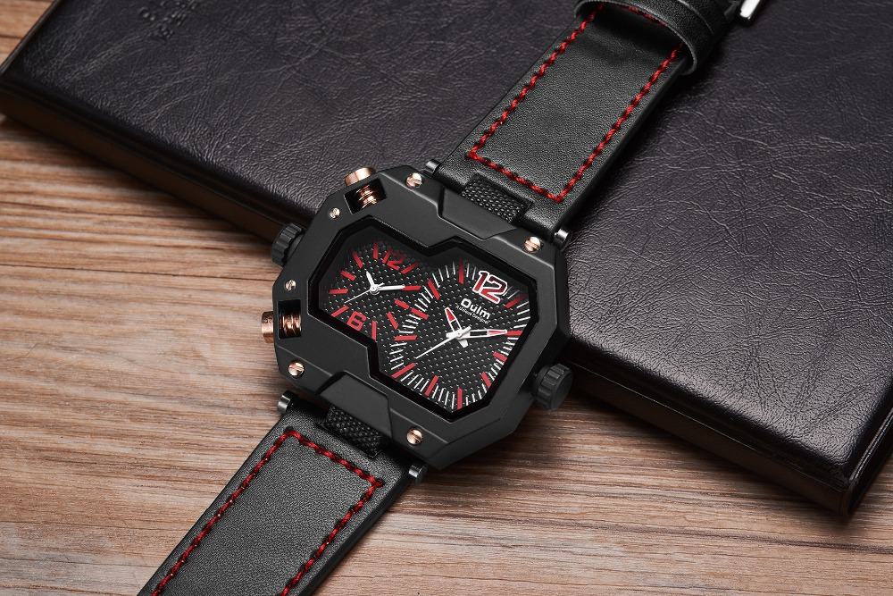 OULM Fashion Oversize Quartz Watch Men 2 Time Zone Display Unique Rectangle Dial Deisgn Leather Strap Creative Casual Wristwatch 14
