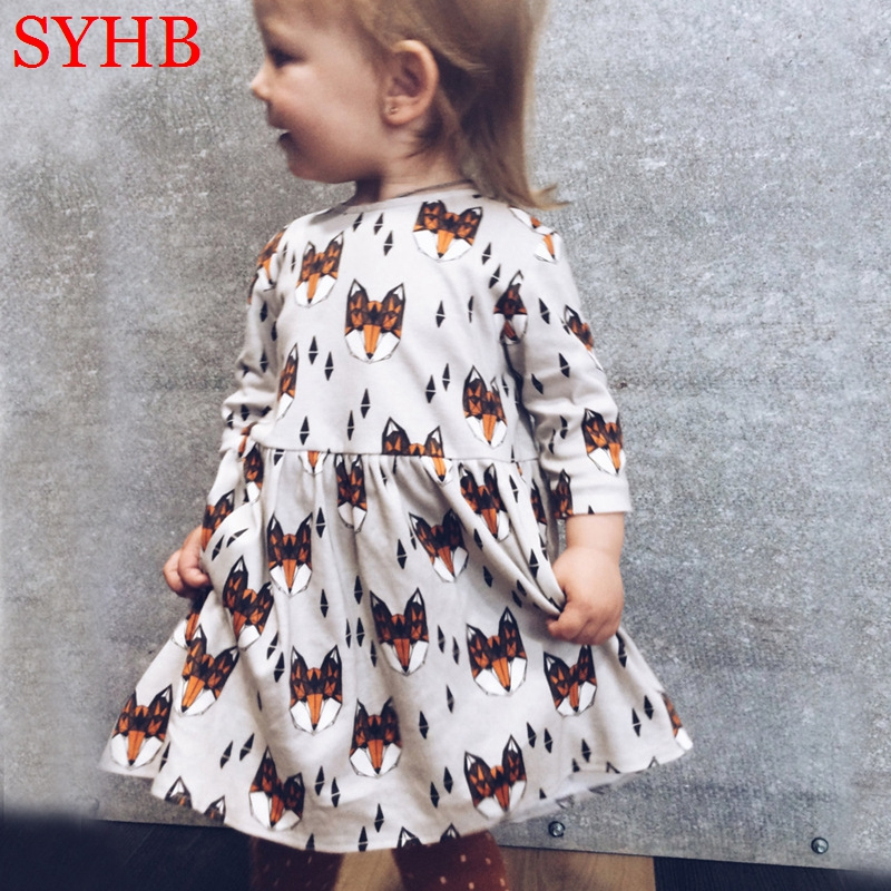 Toddler Girls Dresses Fox Long Sleeve Baby Girl Dress Spring Autumn 2017 New Cute girls party dresses Kids Clothing SYHB1722201 toddler girl dresses 2016 new baby girl dress yellow floral printed princess dress girl long sleeve cute toddler girl dresses