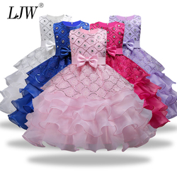 Flower Girls dresses for Wedding Party Baby Girls Sleeveless Big Bow Princess Dress Children Party Vestidos New Year clothes
