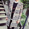 2015 Fashion Mens Plaid Double Breasted X-long Trench Coat Autumn Turn-down Collar Loose Peacoat wth Pockets Dust Jacket