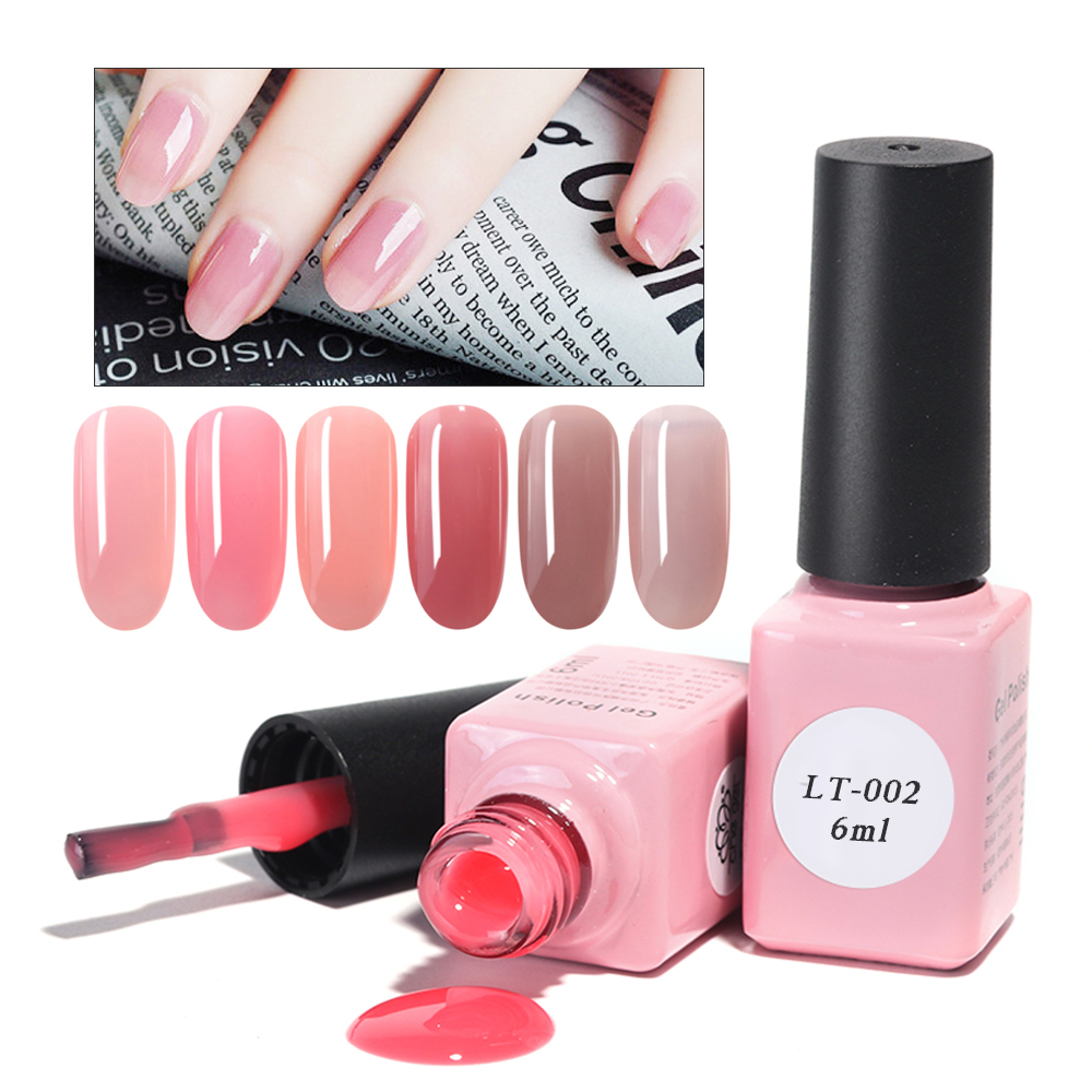 6ml Pure Color Nail Gel Polish Soak Off Pink Nude Lacquer Clear UV LED Gel DIY Permanant Varnish Manicure Nail Art LALT01-06