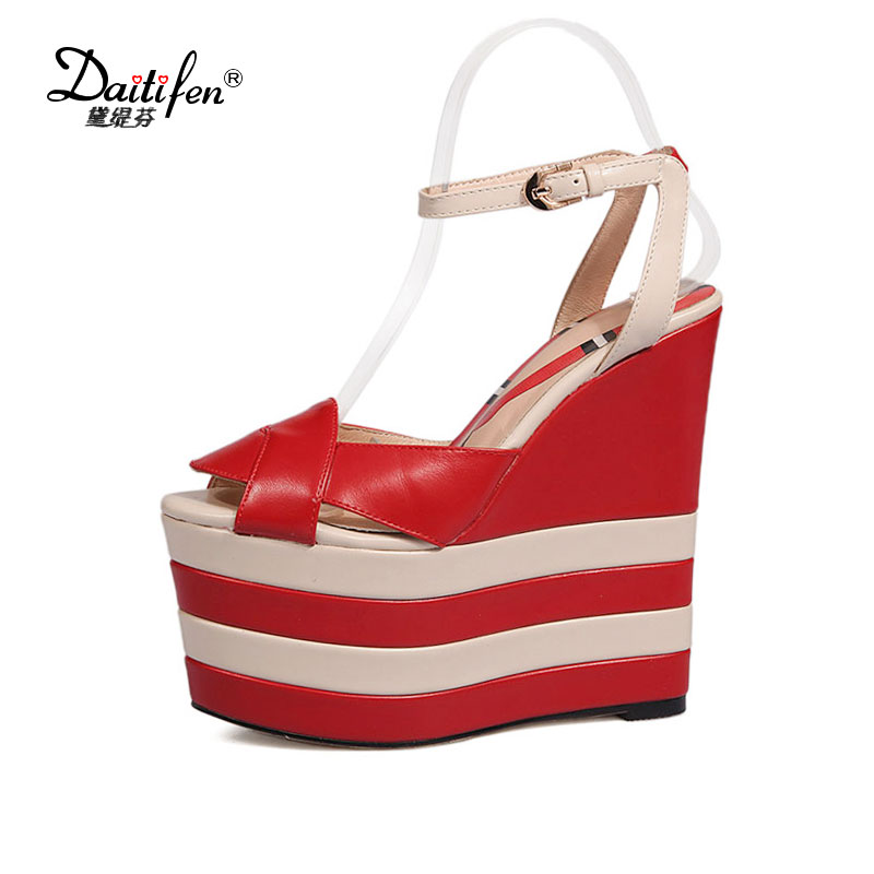 90a7ae93757b Daitifen women Wedge Sandals extreme high Heels sexy Peep toe girls Party  Ankle strap shoes Summer zapatos Plataforma mujer