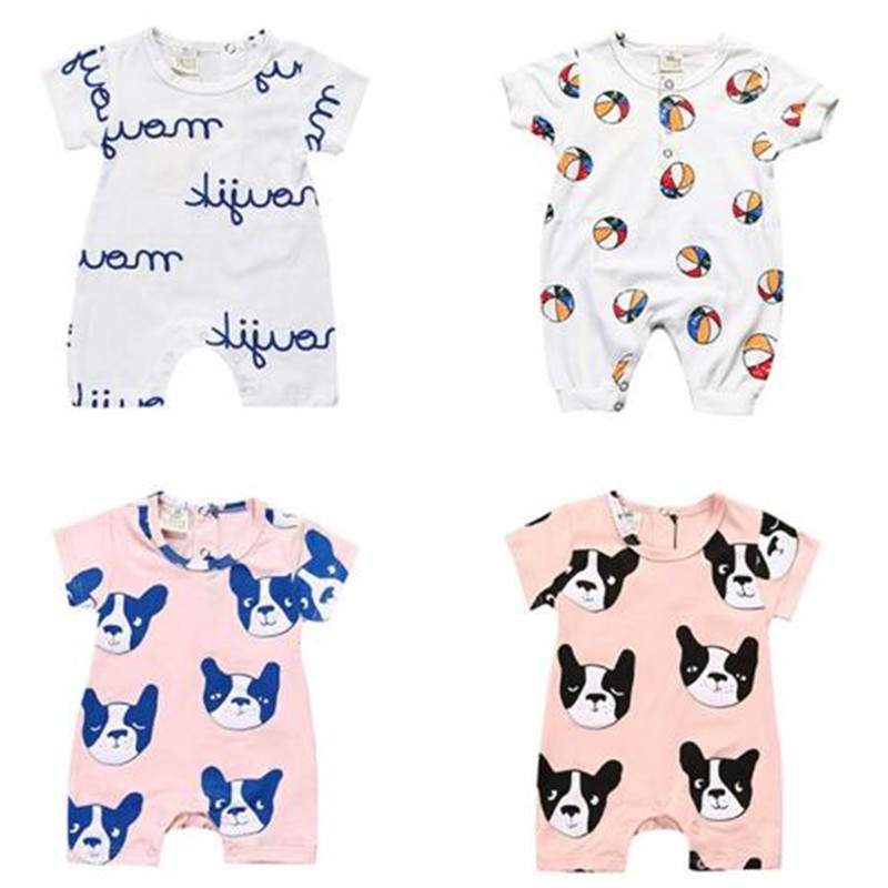 Summer New Tiny Cottons White Pink Dog Letter Printing Baby Boys Girls   Rompers   Jumpsuit Baby Clothes Vestidos