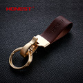 Brands HONEST 100% Genuine Leather Minimalist design style Men Keychain Bag Pendant Car Key Chain Ring Holder jewelry bcys-035