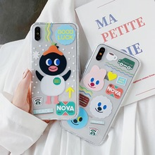 INS Korean cute cartoon penguin bear phone case For iphone Xs MAX XR X 6 6s 7 8 plus English dot label clear soft TPU back cover