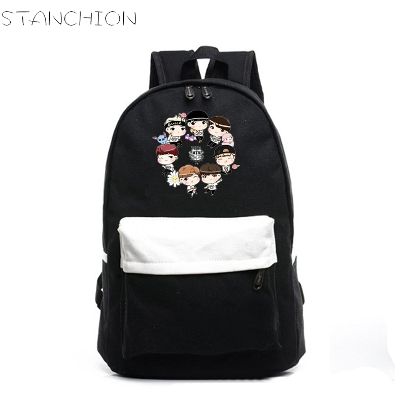high quality bts cartoon image printing canvas backpack