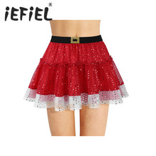 fc0cc9eb12 iEFiEL Girls Cosplay Skirt Womens Adults Red Shiny Sequins Short Skirt with  Elastic