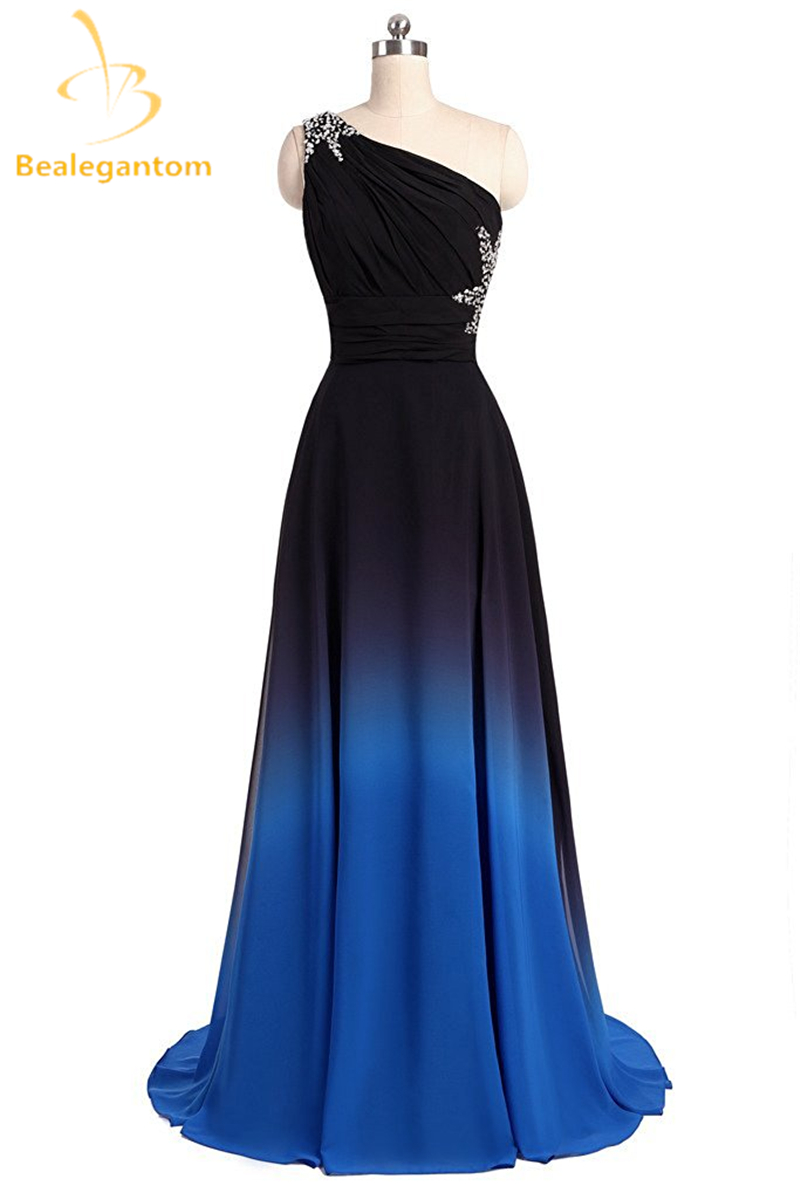 Bealegantom One Shoulder Black Blue Ombre Prom Dresses 2019 With Chiffon Plus Size Evening Party Gowns Vestido Longo QA1078