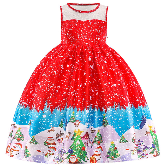 New Christmas Gift For Baby Girl Winter Snowman Dress 3-10 Years Old 4