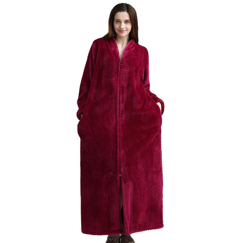 Autumn Winter Ladies Flannel Bathrobe Sexy Nightgown V-Neck Long Kimono Robe Gown Loose Sleepwear Size M-XL Women Home Wear