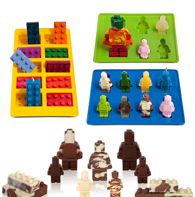 Funny 3Pcs Different Shaped Lego Silicone Cake Mold Robot Candy ...
