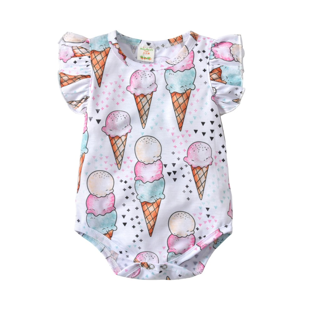 Cute Ice Cream Pig Newborn Baby Boy Girl Romper Jumpsuit Long Sleeve Bodysuit Overalls Outfits Clothes