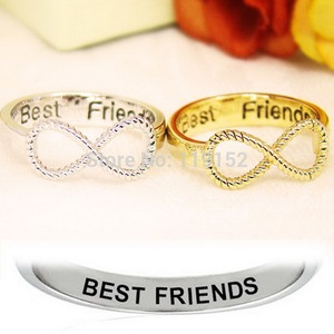 Fashion 2PCS/Lot size 6 Best Friends Ring Women's Infinity Rings Engraved Rings O Jewelry Gold Silver Color Jewelry