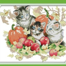 Four Seasons Cats Autumn DMC Cross Stitch Kits 100% Accurate