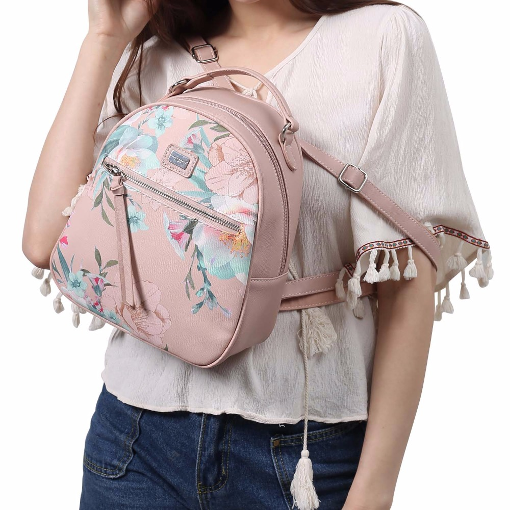 a4f486bdfd DAVIDJONES women backpacks faux leather female shoulder bags big lady  flower school bag girl embroidery softpack