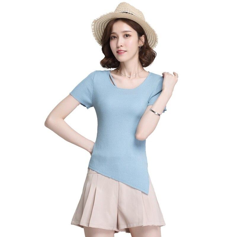 High quality summer women's fashion design knit linen cotton blouses side split knit blouses tops short sleeve