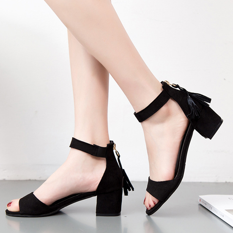 KHTAA Ankle Strap Fringe Zip Square High Heel Women Summer Sandals Fashion Open Toe Solid Office Career Shoes Ladies Footwear