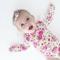 Y01-X051 الوليد ملابس الطفل الفتيان الفتيات الرضع رومبير وزرة الوردي زهرة الدانتيل طويلة الأكمام الخريف cloting 1 قطع