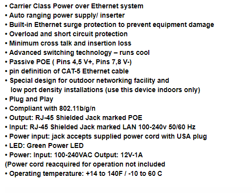 DC12V 1A POE (Power Over Ethernet) Injector 12W Wall Plug POE Switch for CCTV POE IP Cam Power Adapter EUUSAUUK plug Optional_5