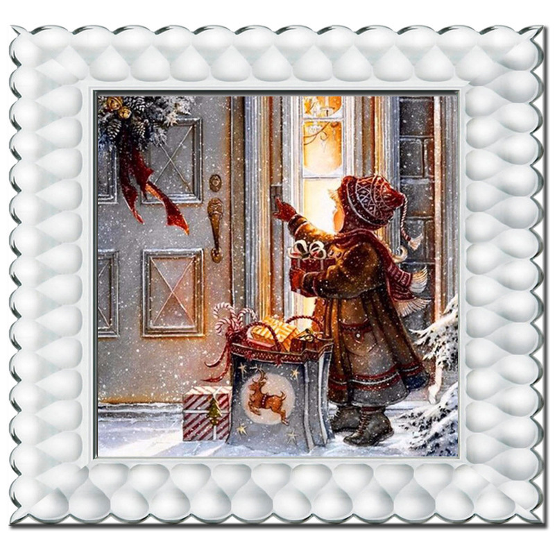 Full Diamond Embroidery A Little Girl Gift On Christmas Eve In The Snow Diy Diamond Painting Decorative Painting For Livingroom