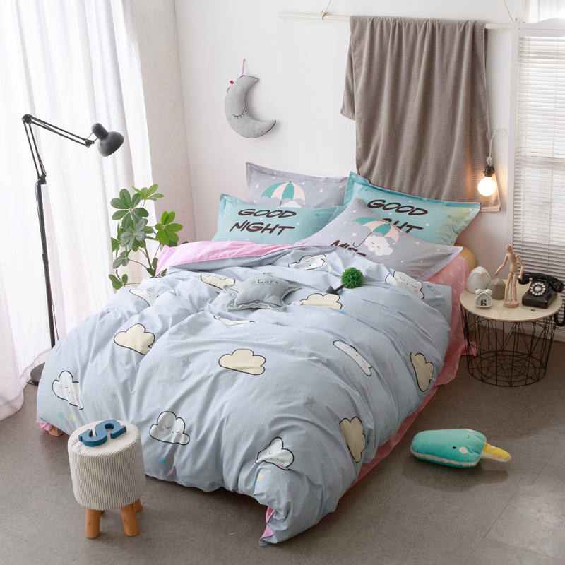 Cartoon Cloud Bedding Sets Sweet Pink Grey Bedspread Queen