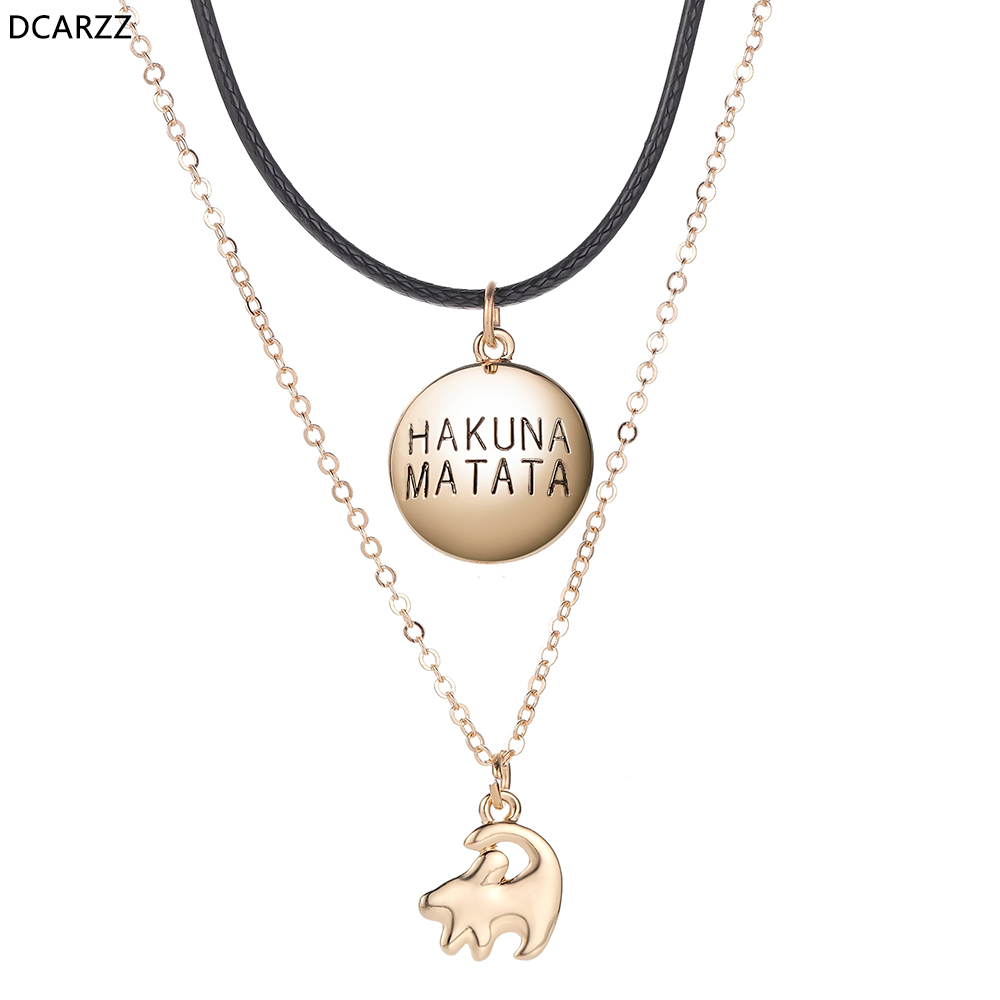 2019 Lion King Simba Layers Necklace Cartoon Jewelry Gift Women Accessories Gold Chain Necklaces Hakuna Matata