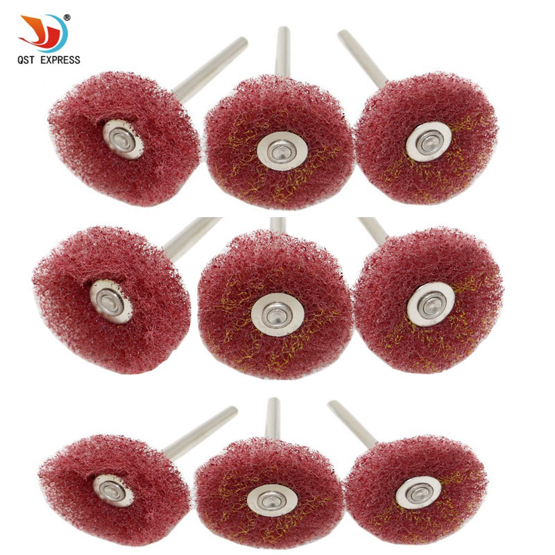 10pcs 3mm Polishing Buffing Wheel Polishing Standing Metals Shank Scouring Pad Dremel Accessories Rotary Abrasive Grinder Tools