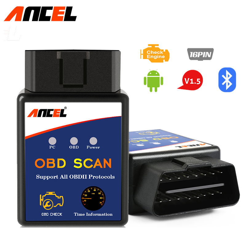 Elm327 Bluetooth ELM 327 V1.5 OBD2 OBDII Adaptor Auto Scanner for Android Phone Code Reader Diagnostic Tool PIC18F25K80 Ancel