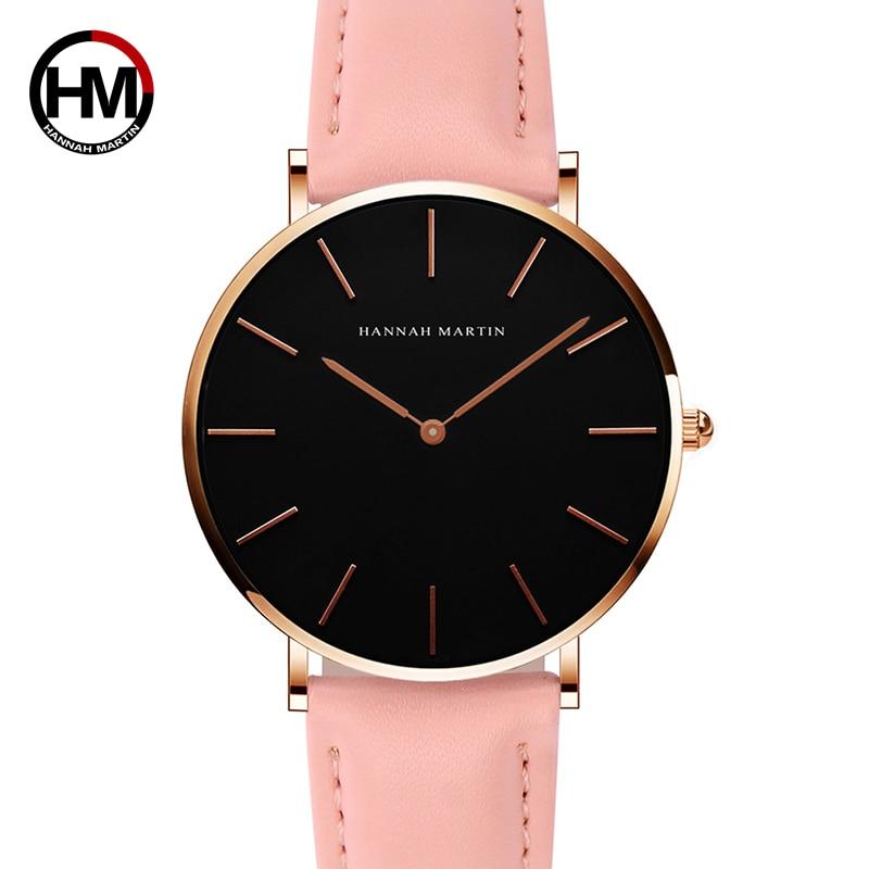2018 HANNAH MARTIN Brand Fashion Simple Japan Quartz Movement Watch Leather Strap Nylon Clock Women Analog Waterproof Wristwatch 1