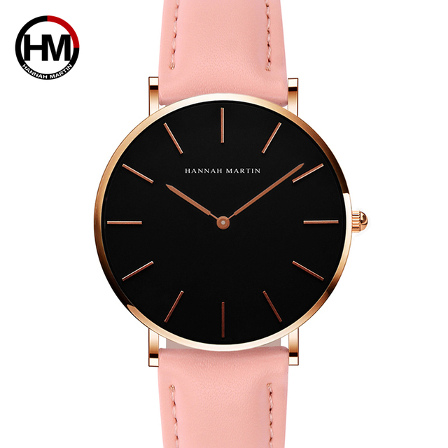 2018 HANNAH MARTIN Brand Fashion Simple Japan Quartz Movement Watch Leather Strap Nylon Clock Women Analog Waterproof Wristwatch 1