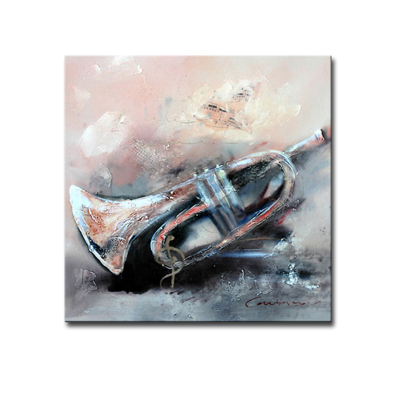100% Handmade art work pictures trumpet musical instrument abstract modern oil painting on canvas wall art for home decoration